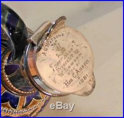 1880 Doulton Lambeth 10 Claret Jug Silver Mounts TROPHY Lizzie Daintree MINTY