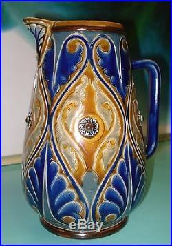1883 Rare signed George Hugo Tabor Art Nouveau Jug Royal Doulton Lambeth ware