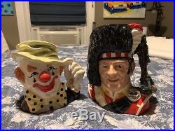 2 Royal Doulton Jugs Large Piper & Large Doulton Clown Fantastic