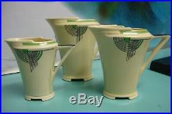 3pc Rare Various ART DECO GREEN Royal Doulton TANGO Tea pot hotwater jug custard