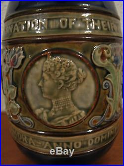 Antique English Royal Doulton Lambeth Coronation Pitcher / Jug King Edward VII