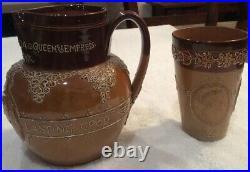 Antique Queen Victoria Jubilee Doulton Stoneware Jug & Beaker Set