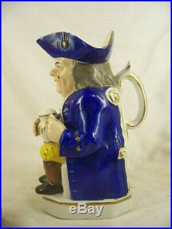 Antique Staffordshire Toby Jug Pitcher Gold Anchor Davenport