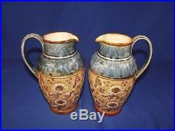 Circa 1910 Pair Of Slater Royal Doulton Stoneware Jugs