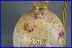 Doulton Burslem A2978 Hand Painted Pink & Orange Floral & Raised Gold Jug / Ewer