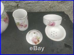 Doulton Wash Jug & Bowl Roses Pattern with toothbrush pot and soap dish PERFECT