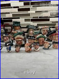 Huge Lot of Over 40 Royal Doulton Toby Character Jugs, Large, Small, and Mini
