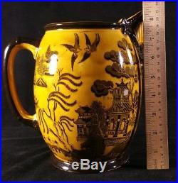 Lg Antique Royal Doulton Jug Or Pitcher Mustard Black Willow Pattern 6x8.5 EXC