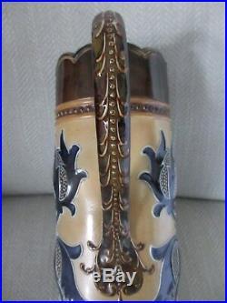 RARE ROYAL DOULTON LAMBETH, TALL THISTLE JUG, DESIGNED BY MARK MARSHALL c1890s