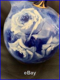 Rare DOULTON BURSLEM England Antique Blue Gold Ball Jug/Pitcher
