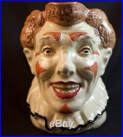 Rare Large Royal Doulton Brown Hair Clown Character Jug D6322 Great Condition