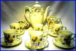 Royal Doulton April Primrose 6 Setting Coffee Service Pot Jug Bowl Stunning