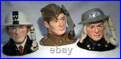 Royal Doulton Character Jug Heroes Of The Blitz Set D6872 6886 6887 Ltd Ed D4