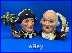 Royal Doulton Character Jug Pair! Captain Bligh & Fletcher Christian! Mint! Rare