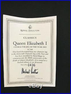 Royal Doulton Character Jug -RARE Queen Elizabeth I D7180/Classics- COA 436/1000