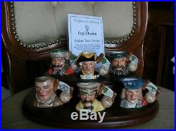 Royal Doulton Character Tiny Toby Jugs Explorers Set of 6 + Stand + COA Ltd Edit