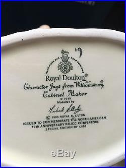 Royal Doulton Charcter Jug large Williamsburg Cabinet Maker NIB Mint