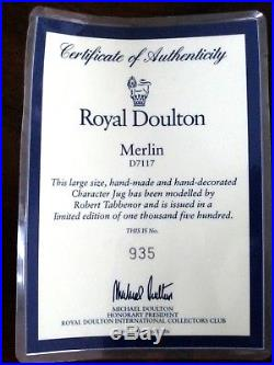 Royal Doulton King Arthur D7055 & Merlin D7117 Toby Jugs Ltd Ed 1,500 ea withCerts