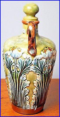 Royal Doulton Lambeth Majolica Spirit Flask Jug Artist Signed GP G Pierson 1880s