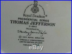 Royal Doulton Ltd Ed Thomas Jefferson D6943 Lg Character Jug President Series
