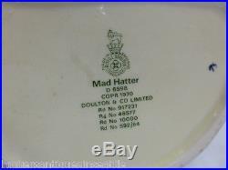Royal Doulton Mad Hatter Large Toby Jug D-6598 7.25'' Variation One