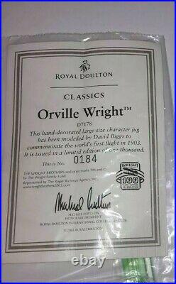 Royal Doulton Orville Wright Character Jug D7178 Ltd Edition 184/1000 Rare Coa