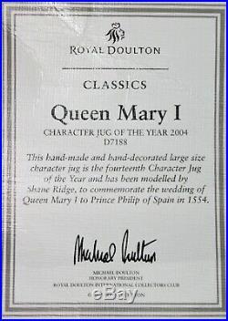 Royal Doulton Queen Mary I D7188 Large Character Jug Toby Mug of Year 2004 COA
