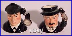 Royal Doulton Sherlock Holmes Set of 6 Miniature Tiny Toby Jugs + Wood Stand COA