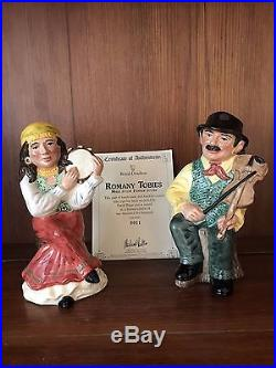 Royal Doulton Toby Jug Pair! Romany Male And Female! D7139+d7140! Mint! V Rare