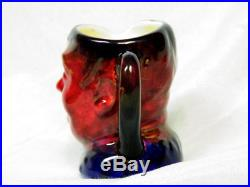 Royal Doulton UNIQUE COLORWAY FAT BOY Miniature Toby Jug Red/Blue FLAMBE LIKE