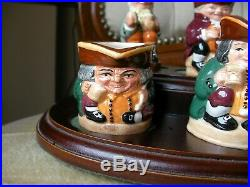 Set of Tiny Toby Royal Doulton Jugs Wooden Stand Toby XX Old Charley Ltd Edition