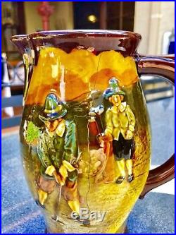 Superb Antique Royal Doulton Kingsware Golfing Whiskey And Large Jug