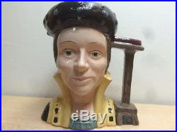 Vtg Antique Royal Doulton Large Character Toby Jugs Henry VIII + 6 Wives Set