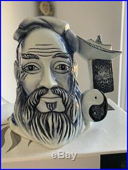 Very Rare Large Size Blue Confucius Prototype Doulton Jug