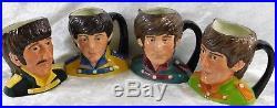 Vtg 1984 The Beatles YELLOW SUBMARINE Royal Doulton Toby Jug Mug Set 4